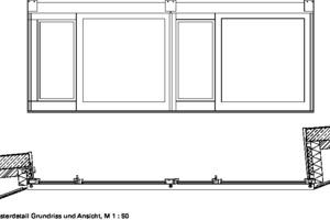 Fensterdetail Grundriss und Ansicht, M 1:50
