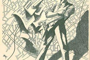 """Illustrationen aus dem Buch """"Wie sollen wir London wiederaufbauen?"""" von Charles Benjamin Purdom: Der Planer schaut auf eine Karte von London mit einem Gewirr von Straßen, das überlagert ist mit Berichten zur Wiederaufbauplanung der Stadt ..."""