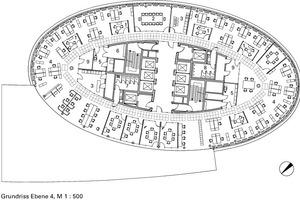 Grundriss Hochhaus Ebene 4, M 1:500