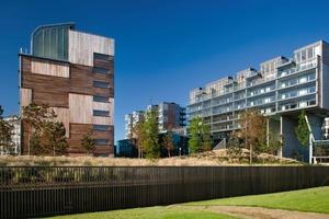 """<div class=""""10.6 Bildunterschrift"""">Der Elm Park ist ein 100 000 m² großes urbanes Quartier in Dublin - ein Niedrigenergieprojekt mit hoher Dichte und Mischnutzung. Hier gibt es einen Kindergarten, eine Privatklinik, ein Hotel, Büros, Appartements und eine Seniorenresidenz, Cafés und Bars. Dies alles befindet sich in einem weitläufigen Parkgelände</div>"""