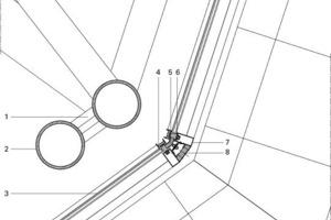 Legende Detail 4<br /><br /><br />1Stahlschlaufe, Stahl<br />2Stahlstange, rohrförmig<br />3Doppelverglasung mit Luftkammer<br />4Vertikaler Außendeckel, Aluminium<br />5Ecke mit Doppelstütze, Sandwichpaneel,<br /> Aluminium, Außenisolierung<br />6Positionsstütze, verstellbar<br />7Paneel, gefüllt mit Polyurthanschaum<br />8Stahlprofil, horizontal<br />