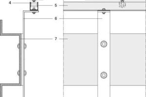 Legende Detail 6<br /><br /><br />1Äußerer Türrahmen, Stahl<br />2Sonnenschutz, bewegliches Paneel aus blankgezogenem Stahl<br />3Stahlrahmen<br />4Horizontales Wälzlagersystem, PVC- Führungsschiene<br />5U-förmige Führungsschiene<br />6Trägersystem der Führungsschiene für bewegliche Sonnenschutzpaneele<br />7Omega-Profil aus Stahl<br />8U-förmige Führungsschiene für aufgehängtes PVC-Wälzlagersystem<br />9Aufgehängtes PVC-Wälzlagersystemmit vertikaler und horizontaler Drehung<br />