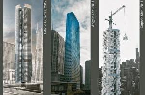 """Im Entwurfsstudio """"Triple-Zero-Highrise"""" entwickeln Studierende des IIT einen 300m hohen Wohnturm. Mit Hilfe innovativer Fassadentechnologie soll der Energieverbrauch minimiert und über die Integration von Energieerzeugern ein positiver Energiehaushalt erreicht werden. Durch gezielte Tragwerksoptimierung wird eine Reduktion der in der Struktur inhärenten grauen Energie angestrebt"""
