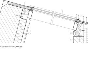 <p>1Auflager Winkel<br />2Zinkblech<br />3Dampfsperre<br />4Isolierglas<br />5Deckprofile<br />6Außendichtung<br />7Enkamat<br />8Bitumendachbahn<br />9OSB-Platte</p>