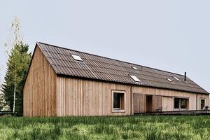 Die Gebäudehülle wurde aus hochwärmegedämmten, vorgefertigten Holzelementen errichtet