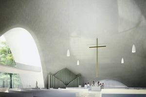 Visualisierung des Innenraums im Wettbewerbsbeitrag zur Probsteikirche St. Trinitatis in Leipzig, 2009<br />