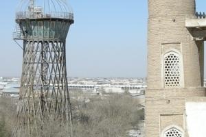 Ehemaliger Wasserturm von Vladimir G. Schuchov in Buchara, Usbekistan, der heute als Aussichtsplattform genutzt wird.