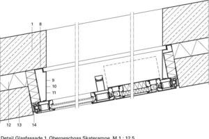 Detail Glasfassade 1. Obergeschoss Skaterrampe, M 1:12,5<br />