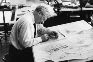 Louis Kahn am Design des Fisher House arbeitend, 1961
