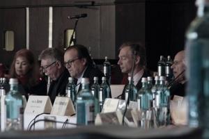 Einlader zur Veranstaltung und Moderatoren (v. l.): Martina Oldengott, Franz Pesch,  Christoph Mäckler, Wolfgang Sonne und Harald Bodenschatz