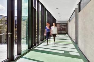 Flure dienen zwischen dem Innenhof und den Klassenräumen als Puffer. Dort tauchen die grüngefärbten Verglasungen den Flur in ein farbiges Lichtspiel