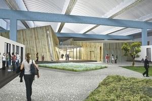 """Blick vom """"Garten der Diaspora"""" (atelier le balto) auf Bibliothek (links) und Veranstaltungsraum der Akademie des Jüdischen Museums"""