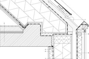 Legende Traufdetail  1Fassadenaufbau: Lehmputz Fermacell-Platte, Fugen geklebt Installationsebene mit Lattung und Wärmedämmung Dampfbremse OSB-Platte Holzrippe Zellulosedämmung OSB-Platte 2Bodenaufbau: Bodenbelag Trittschalldämmung Wärmedämmung Stahlbeton 3Luftdichter Anschluss 4Feuerfeste Kittfuge 5Außenverkleidung: Fassadenkollektor Rückwand OSB-Platte Rahmenholz Steinwolldämmung Absorber/ Luftschicht Glas prismiertes ESG 6Kollektorverteilung 7Box für PV Leitung,  wasserdicht ausgebildet
