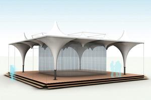 """Die Nutzung des Pavillons """"Lightweight"""" als Überdachung, Bühne und Ausstellungsraum ist vielfältig<br />"""