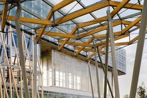Im Norden der Anlage befinden sich begehbare, versiegelte Flächen mit Wegen zwischen den Gebäuden und Plätzen, die teilweise überdacht sind<br />