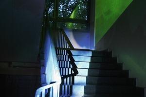"""""""Geheimnisse im Blätterlicht"""": Verschiedene Projektionsarten und -flächen lassen einen ruhig rauschenden Blätterwald entstehen. Das Rauschen der Blätter wird über Lautsprecher im Innenraum verbreitet<br />"""