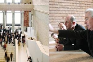 v.l.n.r: Treppenhalle, Bundesminister a. D., Architekt, Museumsdirektor … sie ahnten den Preisregen nicht    <br />