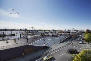 Die Architekten planen zum Baumwall Sitzstufen, die eine Verbindung zum umliegenden Stadtquartier schaffen