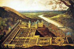 Heidelberger Schloss und geplanter Garten (Hortus Palatinus), gemalt von Jacques Fouquières, 1620