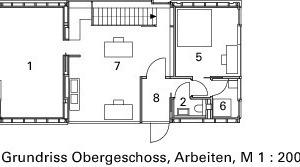 Grundriss Obergeschoss, Arbeiten, M 1:200<br />