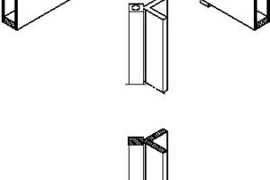 Zweiachsig gelenkig angeschlossener Zugpfosten im Eckbereich der Dachfassade, o.M.<p>1Zugverankerung mit Kalottengelenk</p><p>2Kreuzungspunkt massiv, </p><p>mit Aufnahme für Kalotte</p><p>3Kastenträger des Daches</p><p>4Eckpfosten und Zugverankerung</p><p>5Bolzenverbindung</p><p>6Einbauteil und Fustagemöglichkeit</p>