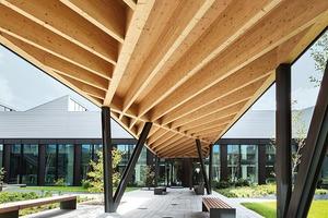 Zwei annähernd quadratische und zwei rechteckige Hallen, jeweils leicht zueinander versetzt angeordnet, gruppieren sich um den Innenhof. So entsteht trotz der enormen Größe des Werks eine aufgelockerte, differenzierte Gebäudefigur