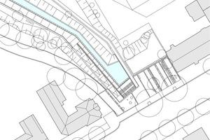 Grundriss Verlegeplan Eingangsplatz Habersaathstraße, M 1:750