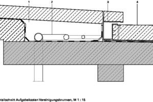 Detailschnitt Aufgabekasten Vereinigungsbrunnen, M 1:15