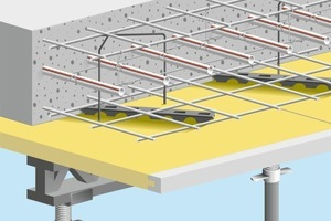 <br /><br />rechts: Das Modulsystem wird bereits vorgefertigt auf die Baustelle geliefert und mittels patentierter Aufzugsträgermethode<br />in der Deckenmitte fixiert<br />