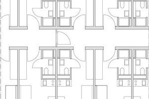 Abb. 9:Der Standardgrundriss der Apartments variiert nur gering von der in der Studie untersuchten Version. Hier dargestellt ist noch eine Möblierung vor der finalen Raumoptimierung