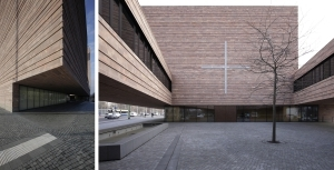 v.l.: Kirchenraum mit Übergang zur Alltagskapelle, statisch höchst anspruchvoll der Volumeneinschnitt, Innenhof mit Blick auf die Kirche, Kirchenraum