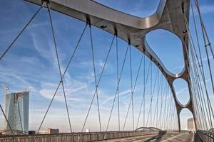 Die Seile sind an ihren Kreuzungspunkten zur Brückendämpfung verkoppelt. Die Straßenbeleuchtung ist in die geneigten Bögen integriert