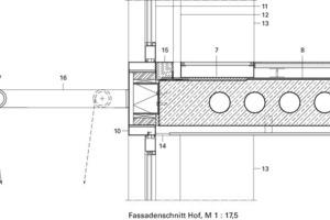 Vertikaler Fassadenschnitt Hof, M 1:17,5