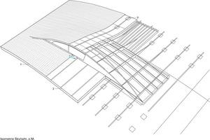 Isometrie Skylight, o.M.<p>1Äußere Dachhaut aus extrudiertem Aluminium</p><p>2Wärmedämmung aus Foamglas</p><p>3Unterkonstruktion des Dachs, bestehend aus Crawl-Platte,</p><p>Stools, L-Profil (gelagert) und Pilz-Profil</p>