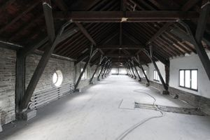 Ehemalige Wandelhalle, hier im noch verbauten Zustand (Kinosaal der Belgischen Truppe)