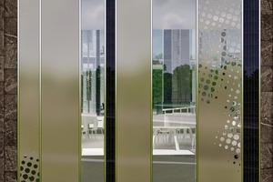 Fenster und unterschiedlich stark bedruckte Glaspaneele wechseln sich mit geschlossenen Fassadenelementen aus Naturstein ab