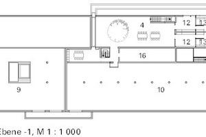Grundriss 1. Untergeschoss, M 1:1000