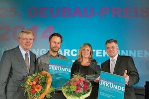 v.l.: Franz-Josef Britz, Bürgermeister der Stadt Essen, Dan Schürch, Anne Kaestle, und Egon Galinnis, Geschäftsführer der Messe Essen