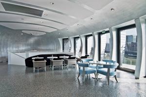 """Die Champagnerbar """"Pebble´s""""-Pavillon Hafenspitze Düsseldorf erhielt den 2. Platz bei der Rigips Trophy 2011/ Kategorie Trockenbau<br />"""