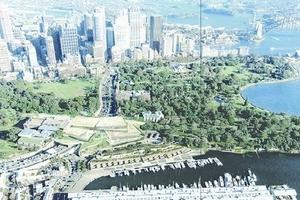 Luftbild mit Darstellung der Lage des Museums im Zentrum des Fotoausschnitts