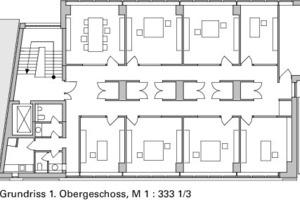 Grundriss 1. Obergeschoss, M 1:333 <sup>1</sup>/3