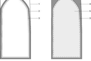 Detail Brandschutzverglasung Ansicht Treppenhaus, M 1:33 <sup>1</sup>/3<br />