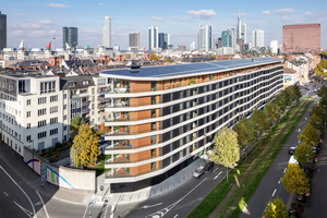 Das Aktiv-Stadthaus liegt an der viel befahrenen Speicherstraße und ist wie das Grundstück 150 m breit und nur 9 m tief