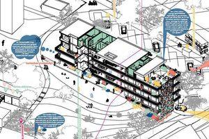 """Preistäger Höhlich & Schmotz Architekten: """"Die Wohnungen orientieren sich an der westlich orientierten Fassade mit Küchen-, Ess- und Wohnbereichen zum Laubengang, dadurch wird der Laubengang gewolltermaßen zum Ort der Kommunikation."""""""