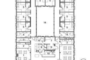 Grundriss Erdgeschoss Funktionsgebäude/Wohnhaus, M 1:500