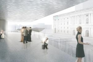 Der erstplatzierte Entwurf von Schweger Partner Architekten, Hamburg, öffentliche Zwischenebene<br />