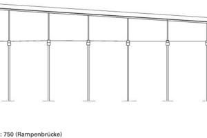Schnitt AA (Rampenbrücke), M 1:750<br />