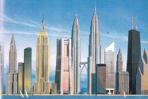 links: Kostümfest New Yorker Architekten, 1931. In der Mitte William van Alen als Chrysler Building<br />rechts: Wolkenkratzer aus aller Welt<br />
