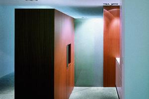 Fast nüchtern präsentieren sich die Innenräume. Gezielte Akzente setzen die Garderobe sowie der Konferenz- und Teeküchenbereich aus rötlichem Holz