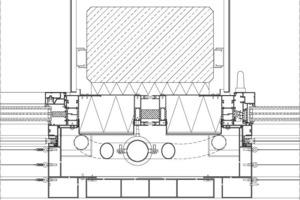 Horizontalschnitt durch den Sockelkörper M 1 : 7,5 – Verglasung und Dämmschichtstärken wurden im Vorgriff um ca. 20% wirkungsvoller ausgeführt, als nach der geltender Baugesetzgebung erforderlich